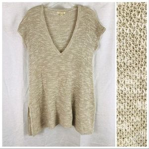 EILEEN FISHER Linen Blend V-Neck Cream Sweater S